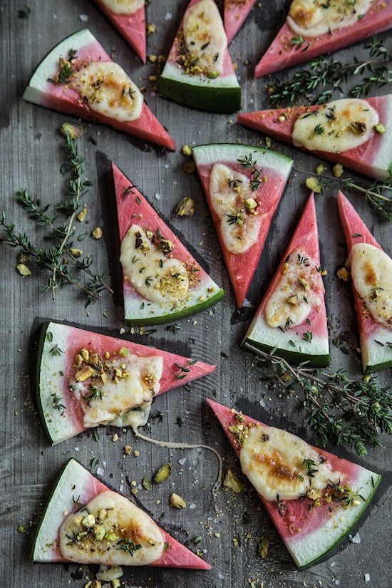 Watermelon Triangles With Grilled Cheese And Nut Crumbles #recipe #summerrecipe