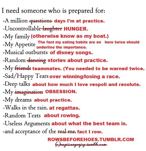 Luckily my boyfriend is a rower and meets all of these criteria. :)