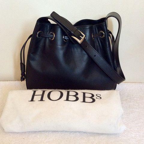HOBBS BLACK LEATHER DRAWSTRING SHOULDER BAG - Whispers Dress Agency - Shoulder Bags - £50
