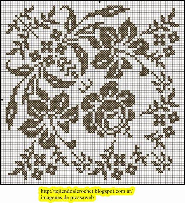 Patrones crochet ganchillo graficos hermosas flores - Patrones de ganchillo ...