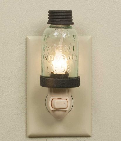 Mason Jar Night Light - Rustic Brown
