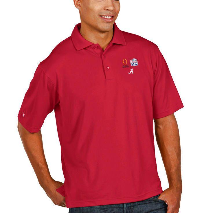 Alabama Crimson Tide Antigua College Football Playoff 2016 Peach Bowl Bound Pique Xtra Lite Polo - Crimson - $35.99
