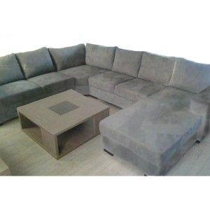 Canapé en U OARA microfibre gris