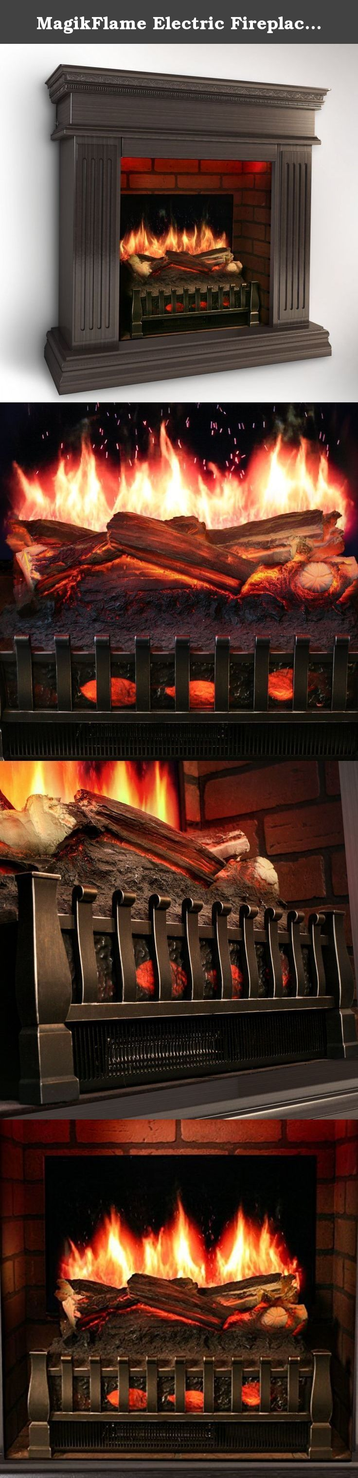 MagikFlame Electric Fireplace w/ Realistic Flame Effects + Crackling Logs Sound + Fresh Cut Pine Scent + Built in Heater [EASTERN BLACK WALNUT]. Realistic Flames w/ Smoke & Embers Has the most realistic flame effects of any electric fireplace. Experience vivid photo-realistic flames dancing upon logs complete w/ glowing embers & wispy rolling smoke. Authentic Log Glow Effects Each log is meticulously painted & lit from the inside using low powered colorful LED lamps that pulsate to…