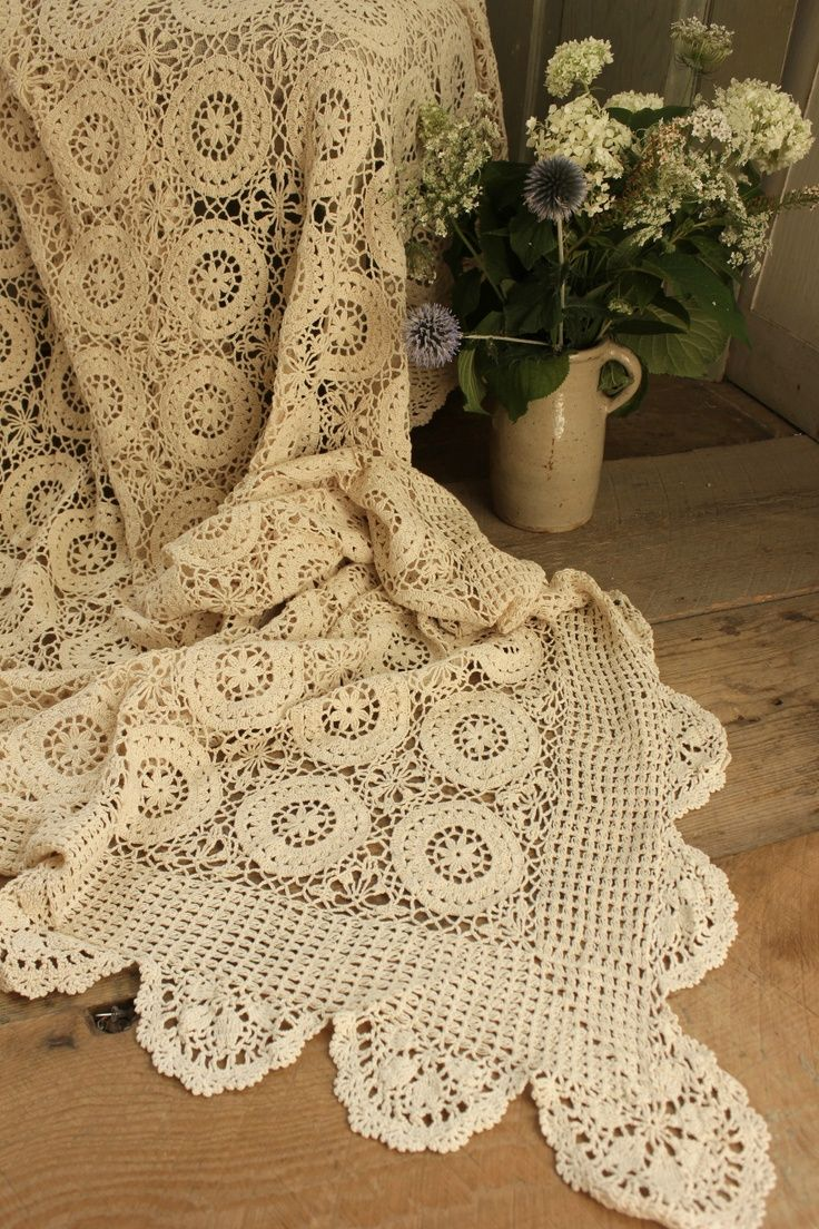 Vintage french lace crochet coverlet...gorgeous ...