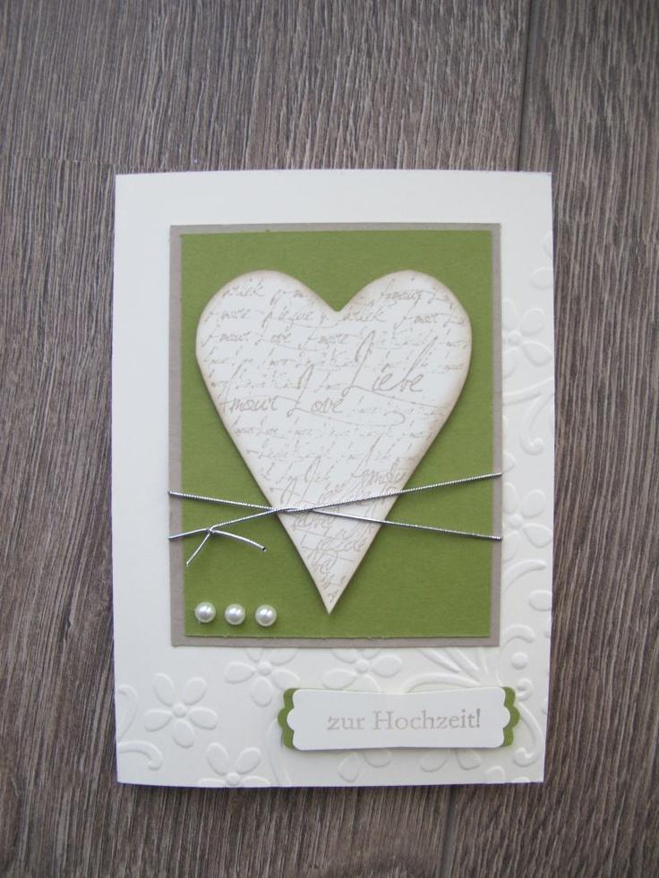.: Album und Karte zur Hochzeit Lässt sich gut für meine Vorstellungen abwandeln: Hintergrund smaragdfarben, Herz aus Holz