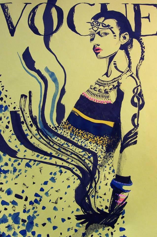 Fashion illustration, ink by VilmaRiitijoki