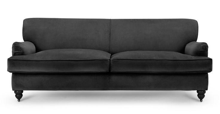 Orson 3 Seater Sofa, Smoke Velvet | made.com