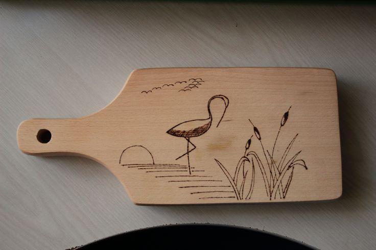 """Woodburning art. """"Flamingo in sunset"""""""