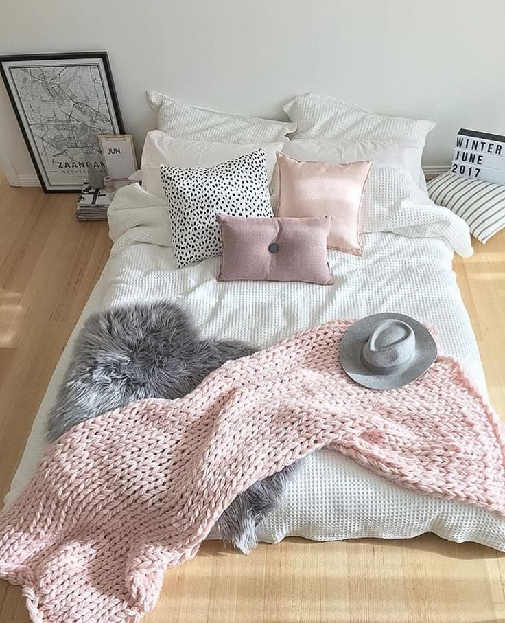 Loving the look of the bed on the floor of my Pinterest friends home @stylingbytiffany Spotted…""