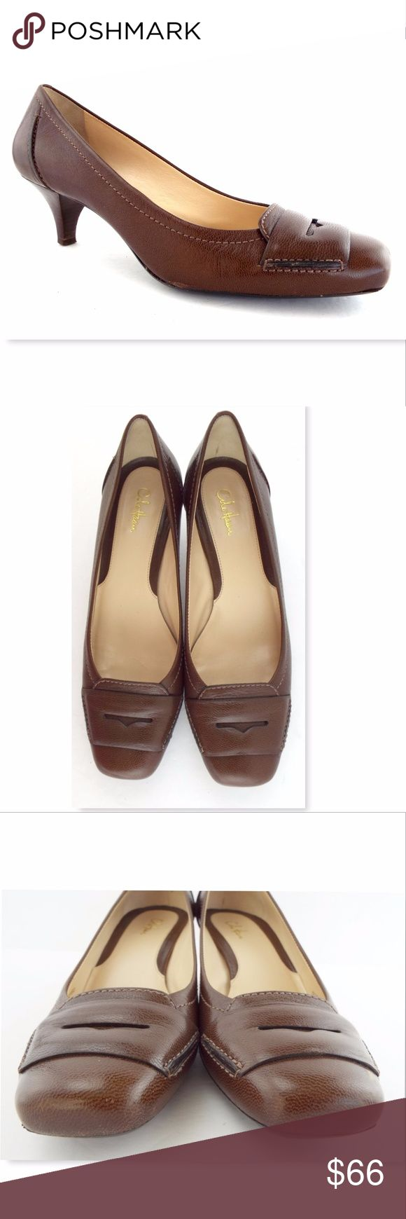 COLE HAAN Size 8.5 Brown Penny Loafer Pumps Heels COLE HAAN Authentic! Brown Leather Snub Nosed Pumps Size 8 1/2 Medium Very light wear and excellent looking! Made in Brazil All actual photos of the item. Cole Haan Shoes Heels