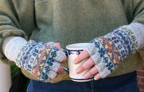 fingerless fair isle gloves