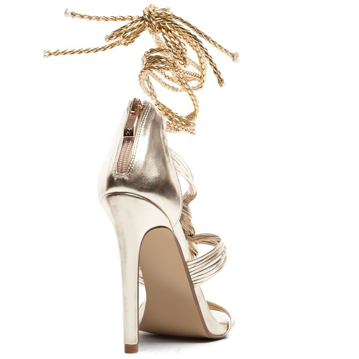 Gold #highheel #laceup #sandal with straps