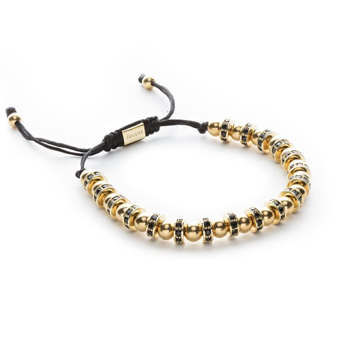 GOLD ULTRA STOPPERS | Eighteen gold plated stoppers (8mm) with black CZ diamonds #Jewelry #Bracelet #GoldFashion