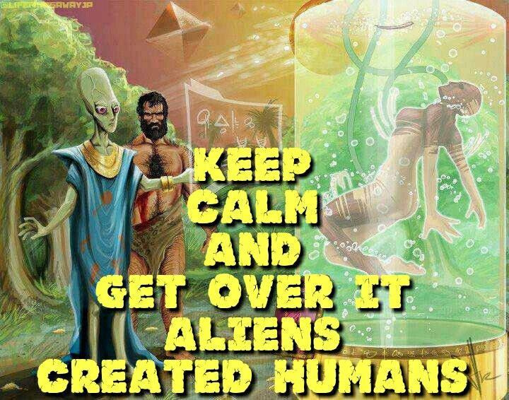 Keep calm and get over it aliens created humans
