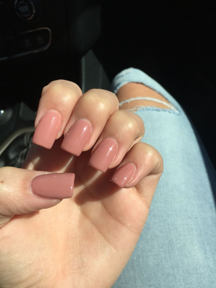 So in love with my nails. Square medium length nude acrylics