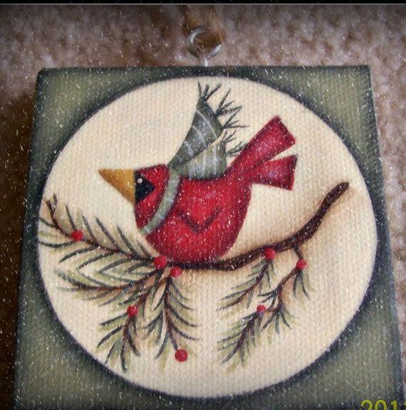 Mini Canvas Cardinal Winter Christmas Ornament Hand by Primgal