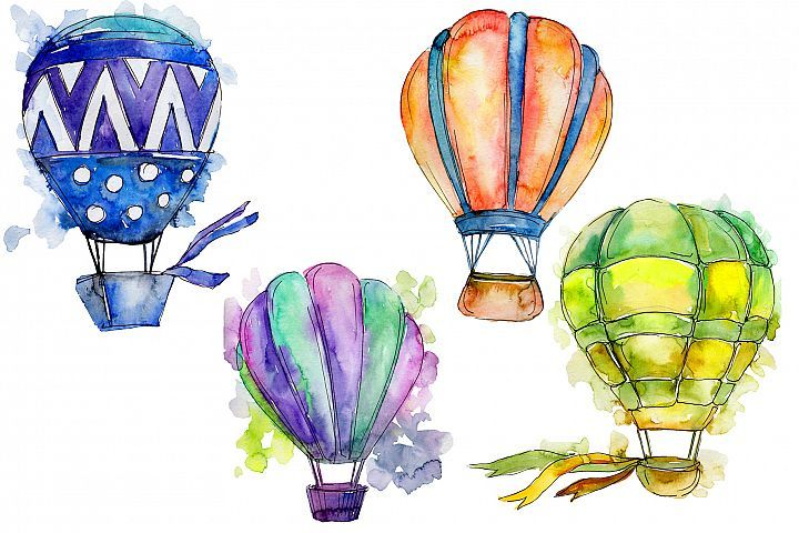 Colorful Hot Air Balloon Png Set In 2020 Purple Balloons Air