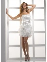 Organza Swirling Panels Strapless Neckline Short/Mini A-line Wedding Dress
