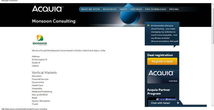 Monsoon Consulting has signed a partnership agreement with Acquia to deliver Drupal development and training services to the UK, Irish and Indian markets
