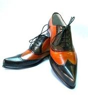 Shoes exclusivist male, handmade black leather and orange