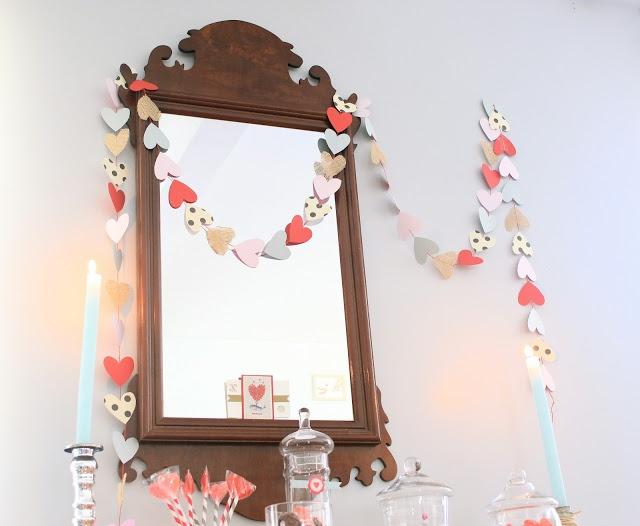 Valentines Day DIY :  paper & burlap heart garland
