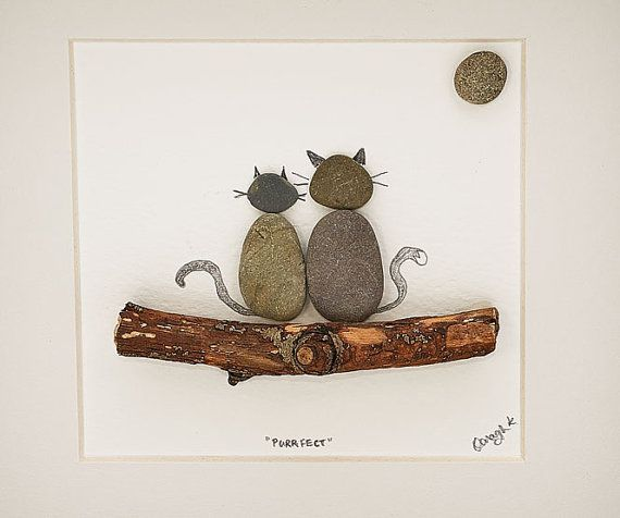 This Love Cats pebble art picture is a beautiful personalized handcrafted pebbleart piece - it makes a lovely gift (especially puurrrfect as a housewarming gift for a cat lover or an anniversary gift/wedding gift) and I have left room underneath to personalise it with text or the names of whoever you want.  Handmade in Kilkenny, Ireland from Irish pebbles and wood hand collected on the shores of Ireland by myself this piece is as truly unique as the home it will hang in.  I can personalise…