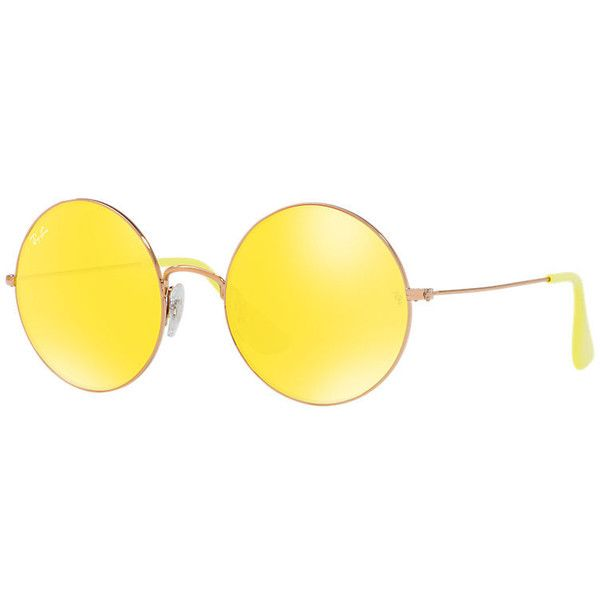 Ray-Ban The Ja-Jo Copper Sunglasses, Yellow Lenses - Rb3592 ($165) ❤ liked on Polyvore featuring accessories, eyewear, sunglasses, copper, ray ban eyewear, yellow lens sunglasses, yellow glasses, ray ban glasses and lens glasses