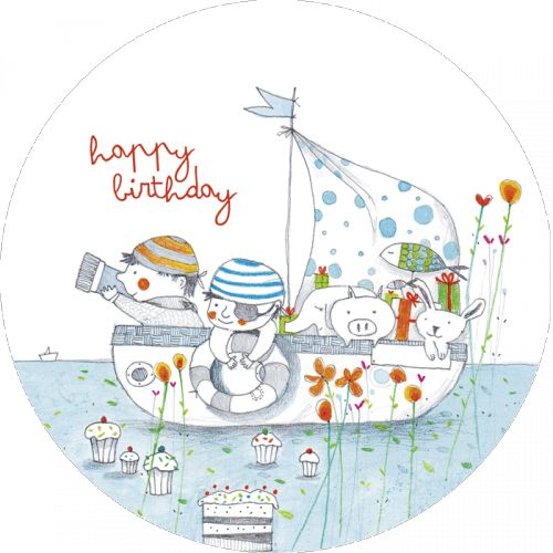 "Francesca Quatraro carte postale ronde (13.8 cm) ""Happy Birthday"", les pirates au  gateau"