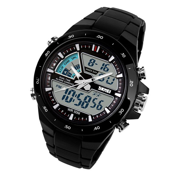 SKMEI 1016 Men's 50m Waterproof Analog + Digital Dual Mode Display Sports Watch - Black