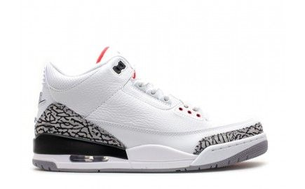 buy genuine mens authentic air jordan 3 retro white fire red-cement grey-black 88