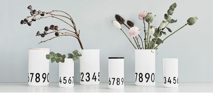 Beautiful simple porcelain vases. Danish Design. Typography: AJ Vintage ABC. Looks good with or without plants.