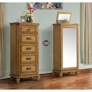 Mysteria Bay 5-Drawer Swivel Jewelry Chest in Honey-MY400LC - The Home Depot