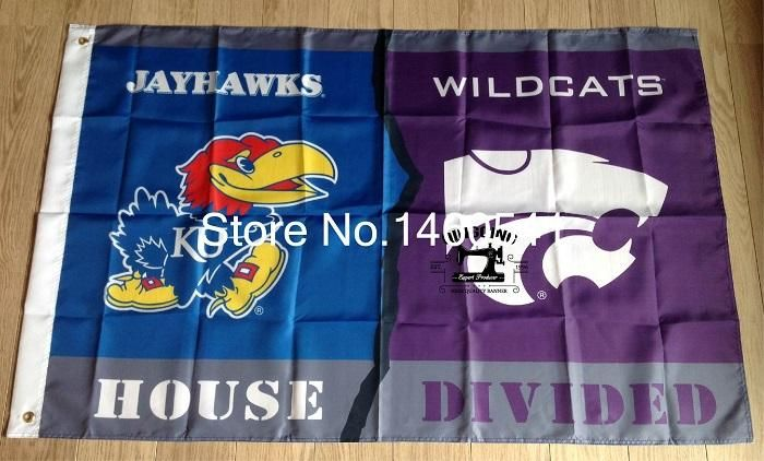 Kansas Jayhawks Kansas State Wildcats House Divided Flag 3ft x 5ft Polyester NCAA Banner Flying Size 144* 96cm QingQing Flag  #Raiders #Cubs #Dubnation #MLB