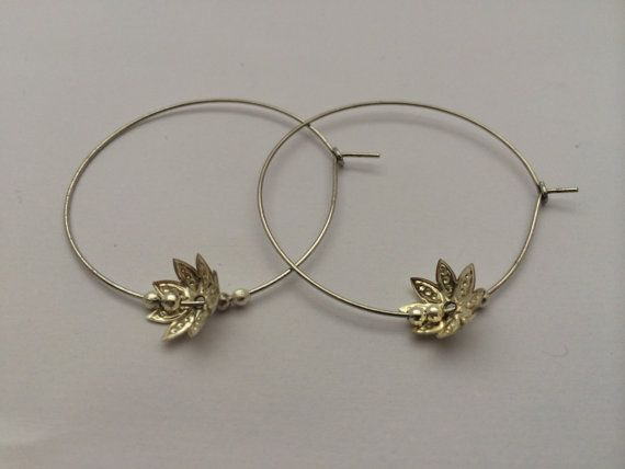 Silver hoops with delicate flower charm and by BillyandElizabeth, $5.00