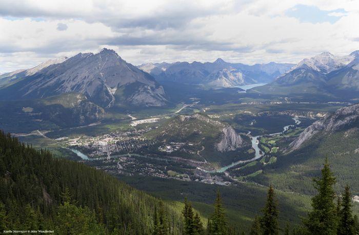 The spectacular birds' eye view of Banff, Alberta. Part of the Canadian Rockies UNESCO World Heritage Site.  #explorealberta
