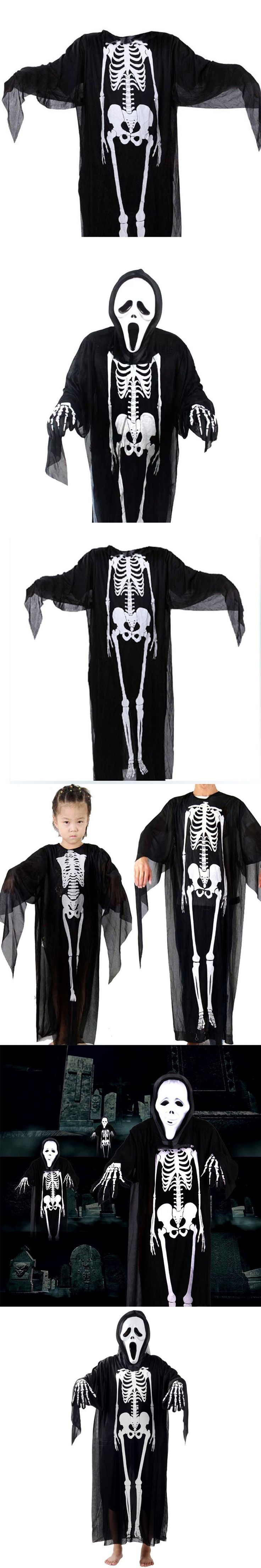 Skull Skeleton Ghost Cosplay Costume Children Adults Halloween Carnival Masquerade Fancy Dress Party Performance Wear Clothing
