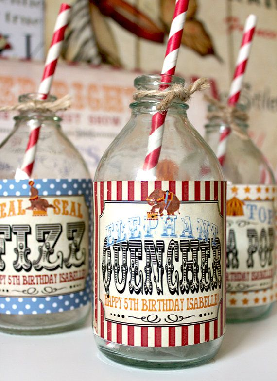 Under the Big Top ~ Vintage Circus Drink Bottle Labels Kids Birthday Party by Sassaby, $5.50