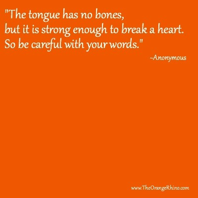 Choose your words … Choose your words carefully after you say them, they can't be taken back.
