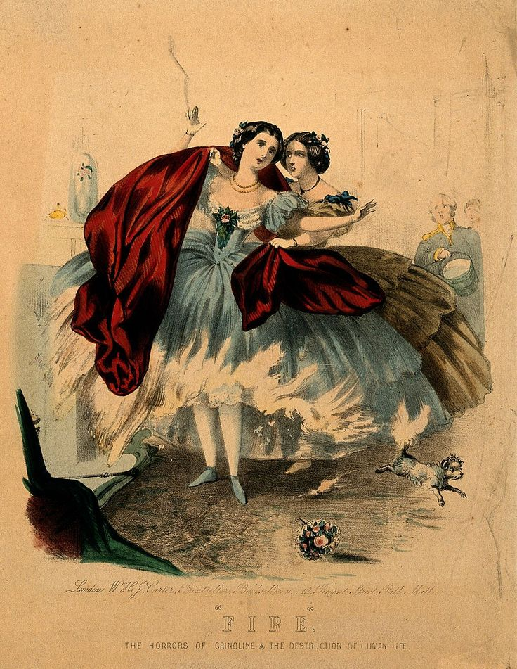 Women wearing crinolines set on fire, ca. 1860, lithograph Wellcome V0048935 - Crinoline - Wikipedia, the free encyclopedia:
