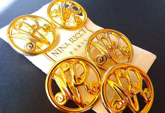 NINA RICCI Buttons Vintage Designer Buttons XL Size