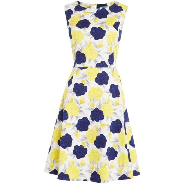 Dickins & Jones Floral Fit and Flare Dress ($130) ❤ liked on Polyvore featuring dresses, women, below the knee dresses, fit and flare dress, sleeveless cotton dress, floral dress and floral print dress