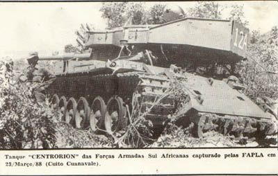 "A South African ""Elephant"" MBT after being captured by Angolan and Cuban forces in March 1988."