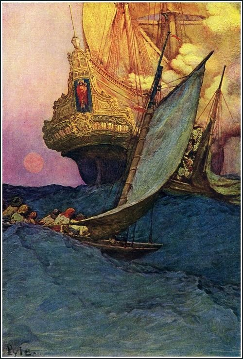Howard Pyle: Attack on a Galleon, 1905 - oil on canvas (Delaware Art Museum)