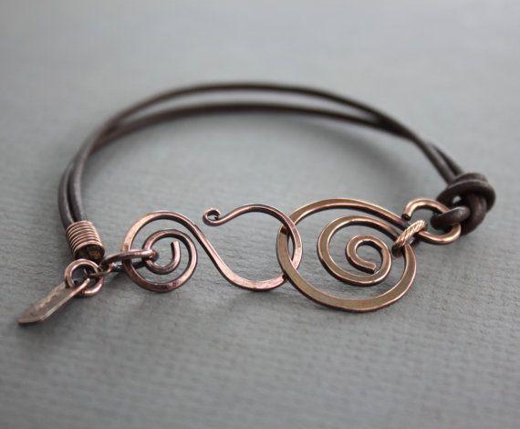 Pelle marrone braccialetto con rame