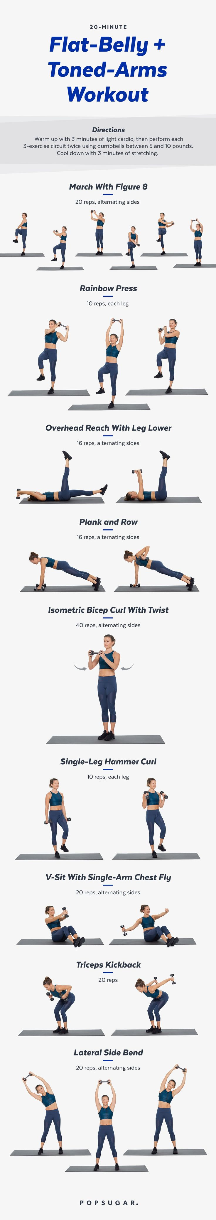 20-Minute Arms and Abs Workout With Weights | POPSUGAR Fitness