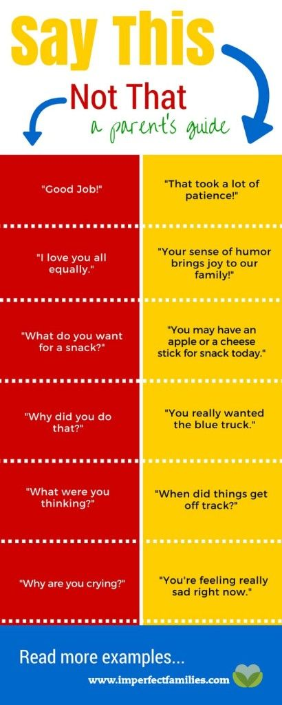 Common parenting phrases, rewritten using positive language!