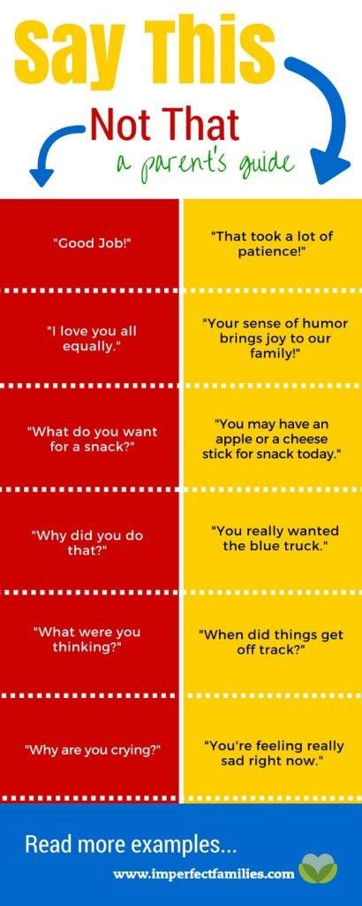 Common parenting phrases, rewritten using positive language!