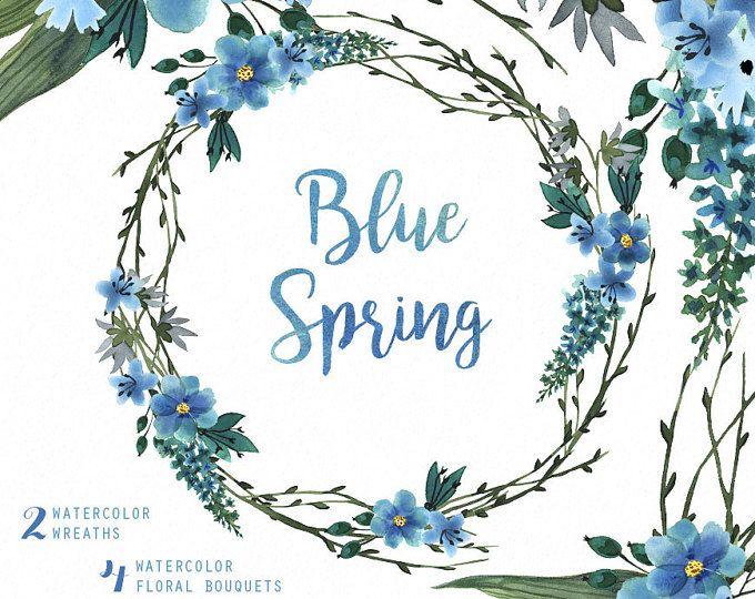 Ramos acuarela primavera azul, corona de la mano pintado Imágenes Prediseñadas, invitación floral de la boda, tarjeta de felicitación, prediseñadas diy, flores