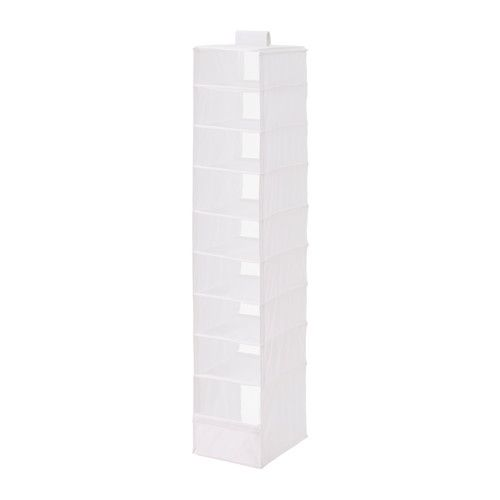 SKUBB Organizer with 9 compartments IKEA The hook and loop fastener makes it easy to hang up and move.